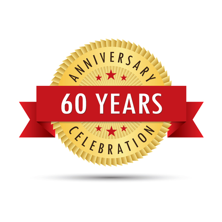 sixtieth: Sixty years anniversary, sixtieth anniversary celebration gold badge icon logo vector graphic design