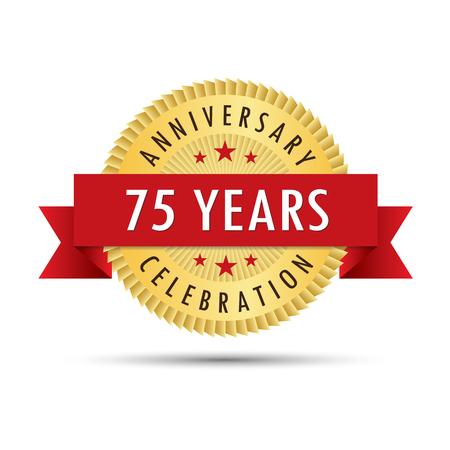 fifth: Seventy five years anniversary, seventy fifth anniversary celebration gold badge icon logo vector graphic design