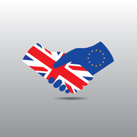 northern ireland: UK - United Kingdom of England, Scotland, Wales and Northern Ireland handshake with EU - European Union after brexit referendum vote. Representing their cooperation in the future. Illustration