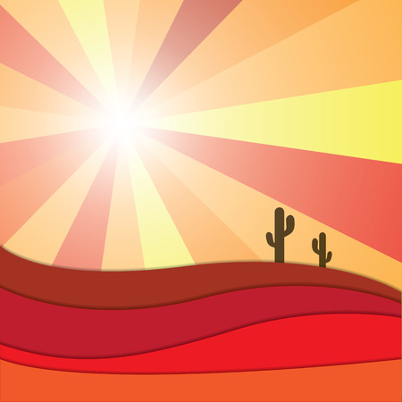 desert sand: Abstract sun shining light beam on desert, sand dune and cactus vector graphic design background