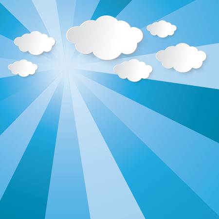 Abstract sun shining light beam, blue sky and cloud vector graphic design for background Illustration
