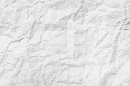 creased: White blank crumpled paper, creased paper texture for background