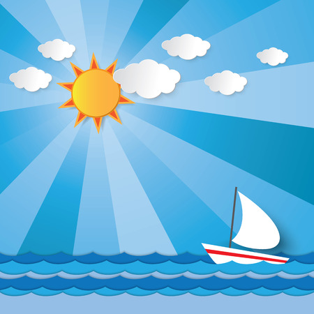 Boat sailing against the wave in the sea under the sun shining light beam in summer graphic design for background Illustration
