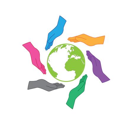 Erde Speichern-Symbol. Sechs Hände schützen die Erde. Sechs Farben Hände Menschen auf der ganzen Welt vertreten, was auch immer Nation, Kontinent oder Hautfarbe hätte resposibility auf die Erde