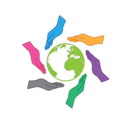 Earth saving icon . Six hands are protecting the earth. Six colors hands representing people all around the world, whatever nation, continent or skin color would have resposibility to the earth