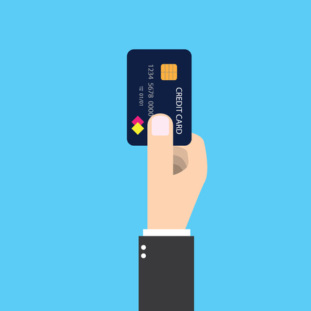 dept: Isolated businessman holding credit card in his right hand. To pay future money buying something by making dept. graphic design. Illustration