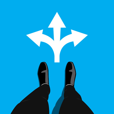 Businessman standing at the crossroad making decision which way to go - three ways to choose. graphic design on blue background.