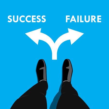 way to go: Businessman standing at the cross road making decision which way to go - success or failure. Business concept graphic design.