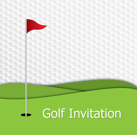 Golf tournament invitation graphic design. The design representing golf green, flag and hole on golf ball pattern texture. 版權商用圖片 - 61040589