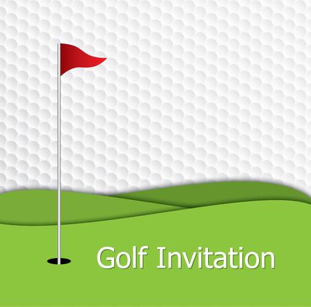Golftoernooi uitnodiging grafisch ontwerp. Het ontwerp vertegenwoordigt golf groen, de vlag en het gat op golfbal patroon textuur.