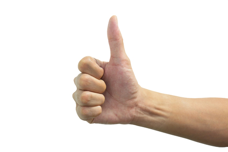 thump: Isolated thump up hand representing good and positive meaning Stock Photo