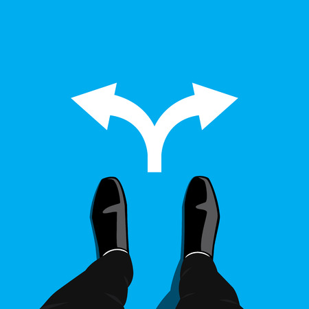 happiness or success: Businessman standing at the cross road making decision which direction to go to pursue his success and happiness. Business concept graphic design. Two ways to choose. Illustration