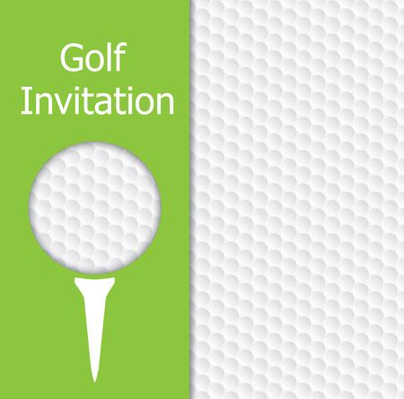 ゴルフ大会招待状デザイン。デザイン代表ゴルフ ボールとテクスチャ、緑、t シャツします。  イラスト・ベクター素材