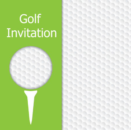 Golf tournament invitation graphic design. The design representing golf ball and texture, green, tee.