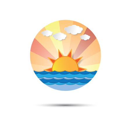sunrise ocean: Sunrise and sunset icon  graphic design. sun rising or setting at the horizon of the ocean. Sunlight shining to the cloud and sky. Paper art style.