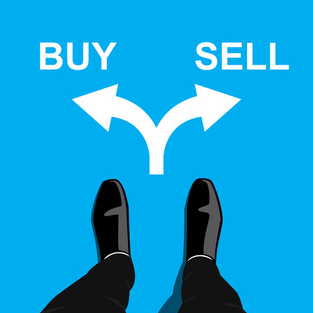 cross road: Businessman standing at the cross road making decision - buy or sell. Business concept graphic design.