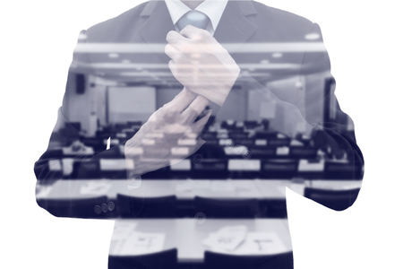 shyness: Double exposure businessman rearranging  his neck tie and conference meeting room. Preparing to speak on the stage as a lecturer. Wining his fear and shyness before time.
