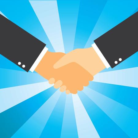 blasting: Business handshake graphic design for cooperation, partnership, friendship, deal, agreement and teamwork. Blue light blasting in background