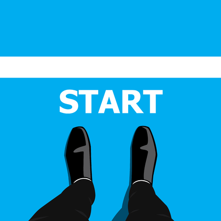 businessman shoes: Businessman in black shoes standing at the start line to start or begin his life and business
