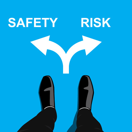 crossroad: Businessman standing at the crossroad making decision - safety or risk