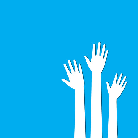 White hands up on blue background. Vote and election background. Volunteer background. Illustration