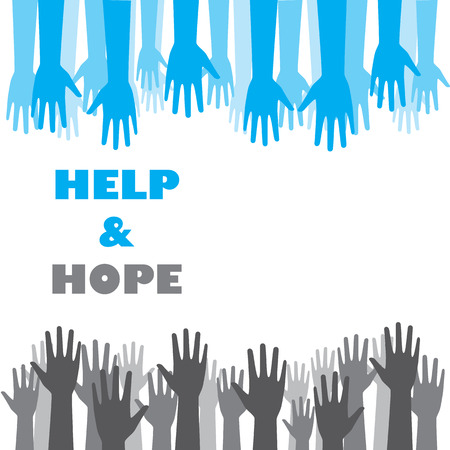 poor people: Help and hope background graphic design. Blue hands trying to help gray hands representing everyone should help poor and hungry people.