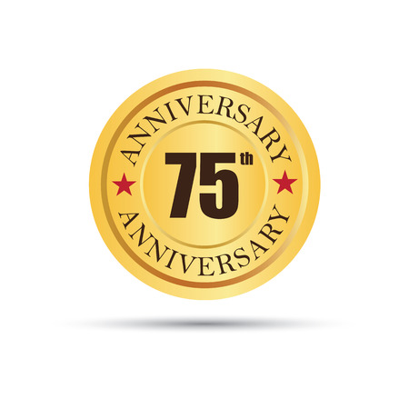 fifth: Seventy five years anniversary, seventy fifth anniversary celebration gold badge icon graphic design