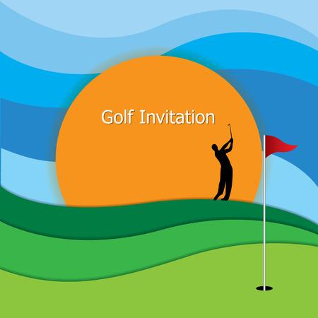 ゴルフ大会招待状デザイン。ゴルフのグリーン、フラグ、穴。シルエット ゴルファーのスイング アイアン クラブ、青空と夕焼け