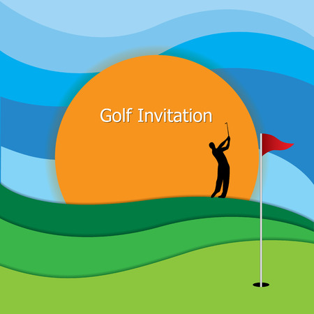 Golf tournament invitation graphic design. Golf green, flag and hole. Silhouette golfer swinging iron club, blue sky and sunset Vettoriali