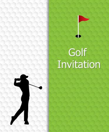 ゴルフ大会招待状デザイン。ゴルフ グリーン、旗、ゴルフの穴はボール パターン テクスチャです。揺れるシルエット ゴルファー。