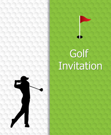 Golf tournament invitation graphic design. Golf green, flag and hole on golf ball pattern texture. And silhouette golfer swinging. Illustration