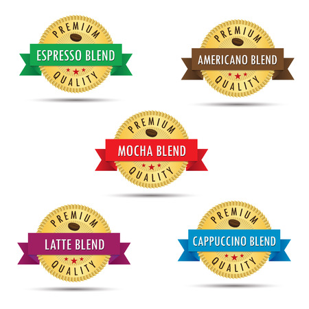 mocha: Five blends of coffee premium quality gold badge icon graphic design. Espresso, mocha, latte, cappuccino and american blends. Illustration