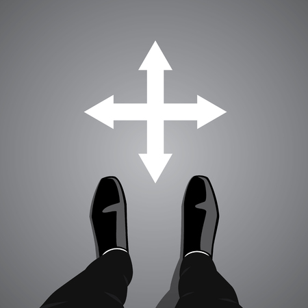 pursue: Businessman standing at the cross road making decision which way to go to pursue his success and happiness. Business concept graphic design. Four ways to choose.