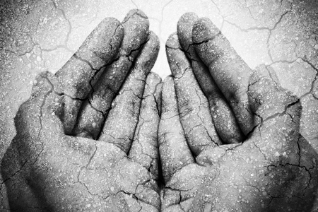Double exposure hunger begging hands and dry soil. Represent that lot of people in the world are hungry and starvation, they need help and hope for better life