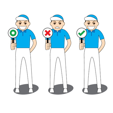 Collection of cartoon illustration man in blue shirt and white slack standing and smiling holding sign board for correct and incorrect, yes and no, true and false, right and wrong, approved and rejected. Green circle is japanese style meaning true or corr Illustration
