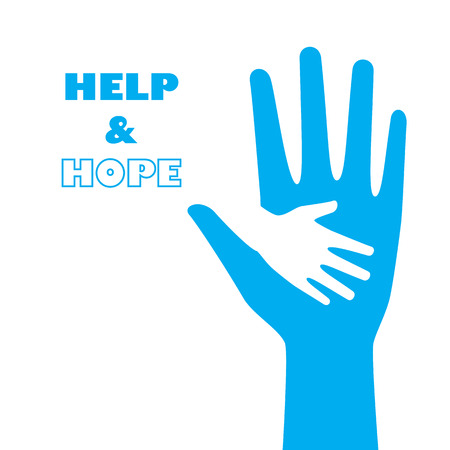 Hand holding small hand for help and hope icon graphic design. For children saving from hunger, torture, abandon. Ilustração