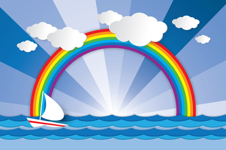 Boat sailing against the wave in the sea and rainbow when sunrise or sunset graphic design for background