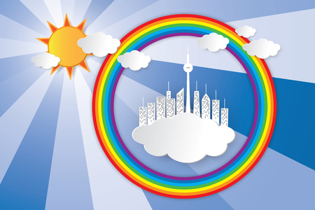 heaven: City on the cloud around with rainbow in summer sun shining in blue sky like heaven or paradise.
