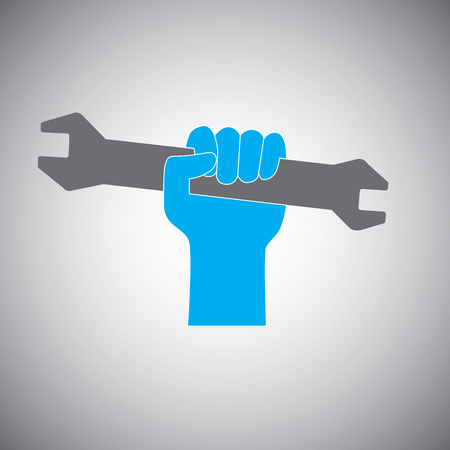 open end wrench: Hand holding open-end fixed wrench icon representing engineering, mechanic and technician.