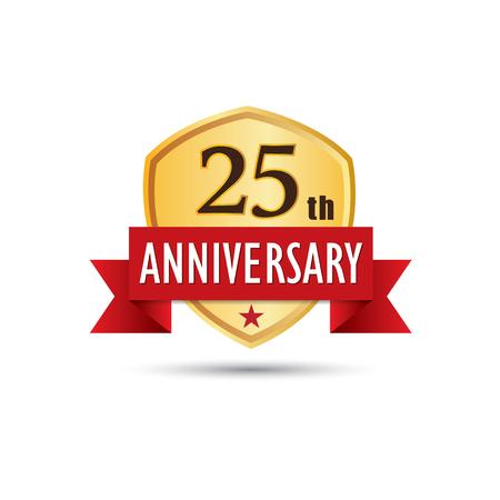 twenty fifth: Twenty fifth years anniversary celebration gold badge icon graphic design