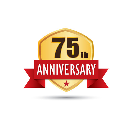 fifth: Seventy fifth years anniversary celebration gold badge icon graphic design Illustration