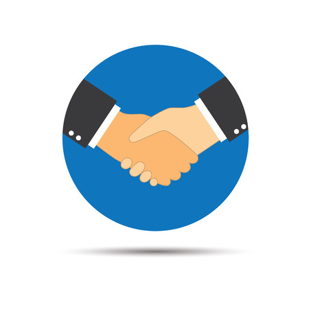 business contract: Handshake logo icon for business agreement, deal, contract and partnership.
