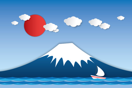 volcano mountain: Paper art vector design Fuji volcano mountain in Japan with boat sailing in the lake and red sun in the sky.