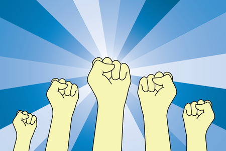Fists uprising in the air and blue light burst from behind