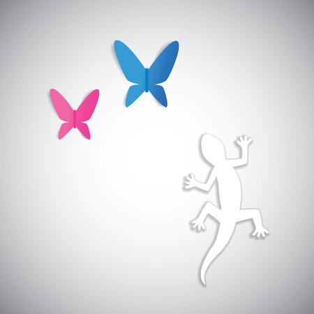 Abstract nature animal life cycle. Gecko changing its color when hunting blue and pink butterflies.