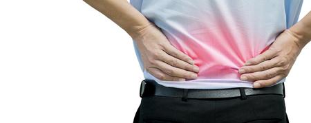 青いシャツは背中に痛みを感じる男。オフィス症候群。仕事から腰痛。椎間板。背骨の痛み。脊髄の変性。