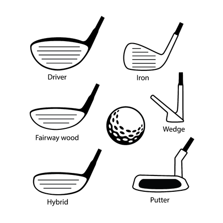 Set of golf club icons graphic design including driver, fairway wood, hybrid, iron, wedge, putter and golf ball.