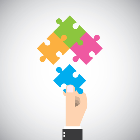 big picture: Businessman put one jigsaw piece to complete big picture. Four cooperation vector graphic design.