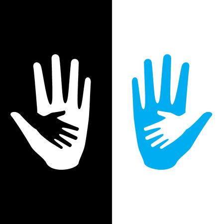 starvation: Hand holding small hand for help and hope icon logo vector graphic design. For children saving from hunger, torture, abandon.