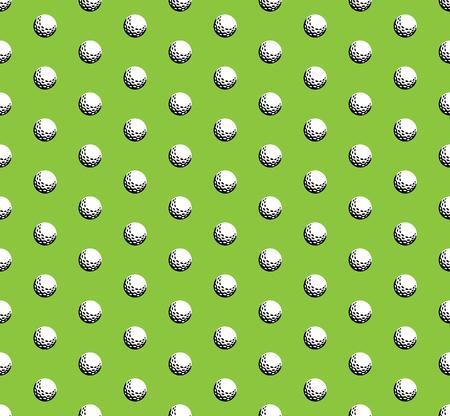 Golf ball on green background seamless pattern.